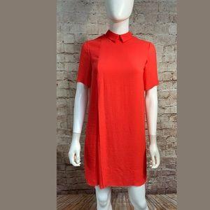 Cos Dress Size 2 Peter Pan Collar Red Short Sleeve